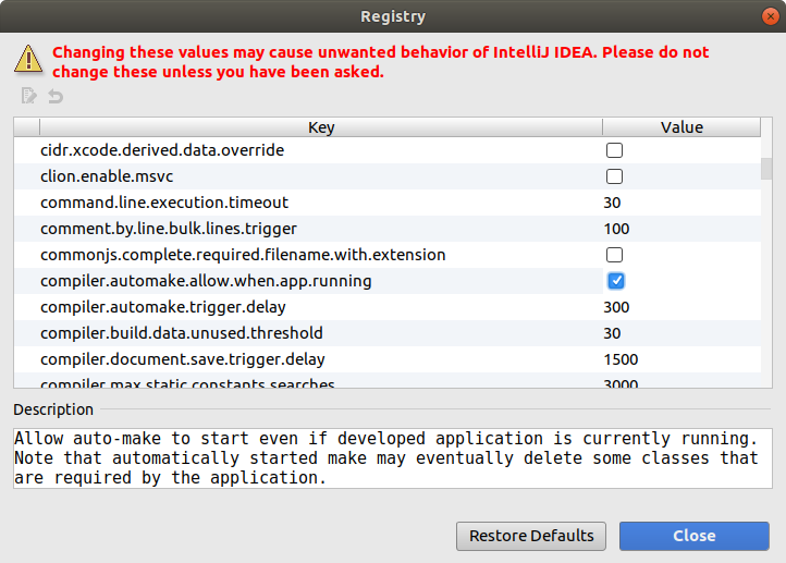IntelliJ IDEA: Registry